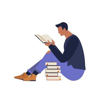 Karakter lezen van een boekillustratie plat ontwerp.
