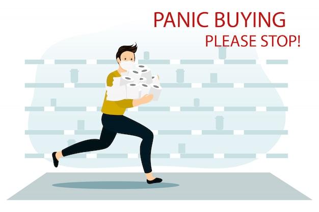 Karakter loopt met rollen papier. tekort aan toiletpapier. paniek in de winkel. een bange man met een gaasmasker rent en koopt alles wat er in supermarkten te vinden is.