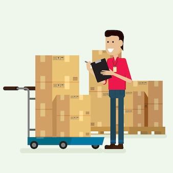 Karakter magazijnmedewerker goederen controleren