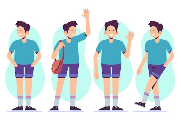 Karakter mannelijke poses en zwaaien