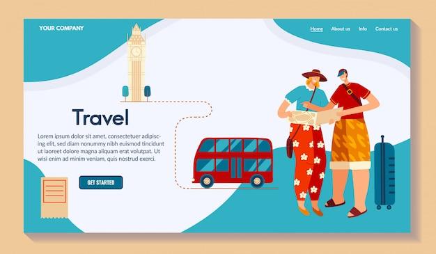 Karakter mannelijke reis rond wereld, illustratie. route maken, kaart voor reis. voor website, de plaats van uw bedrijfsnaam.
