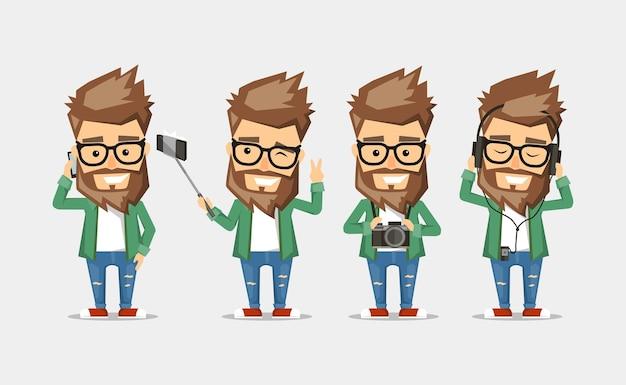 Karakter mannen hipster. de set van poses met het gebruik van populaire gadgets.