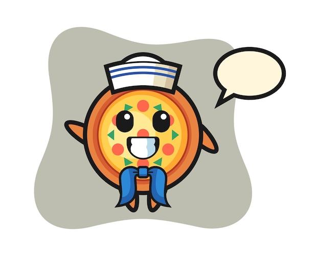 Karakter mascotte van pizza als een zeeman