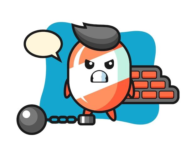 Karakter mascotte van snoep als een gevangene