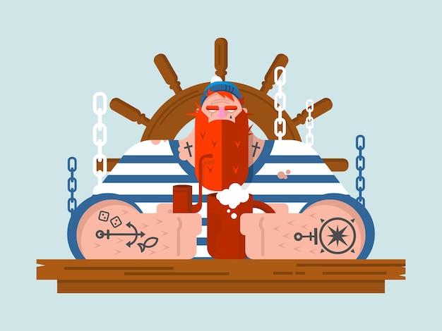 Karakter matroos. persoon mariene man en stuurwiel houten, nautische mens met baard, platte illustratie
