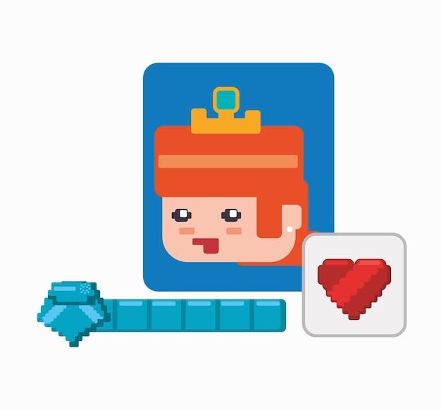 Karakter meisje spel hart leven