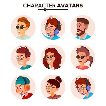 Karakter mensen avatar set.