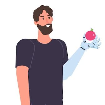 Karakter met een bionische arm of robotic mechanische hand, prothese concept. vector geïsoleerde illustratie