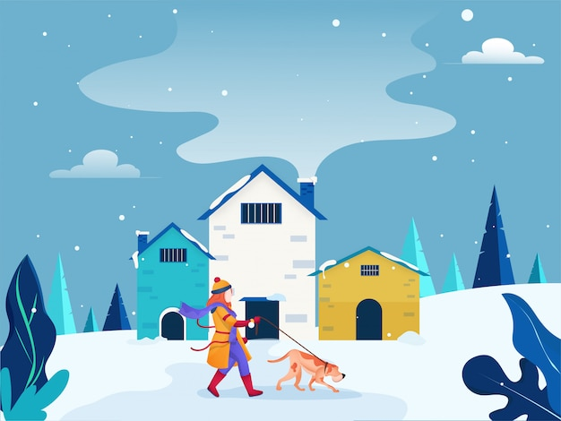 Karakter met hond wandeling in de sneeuw