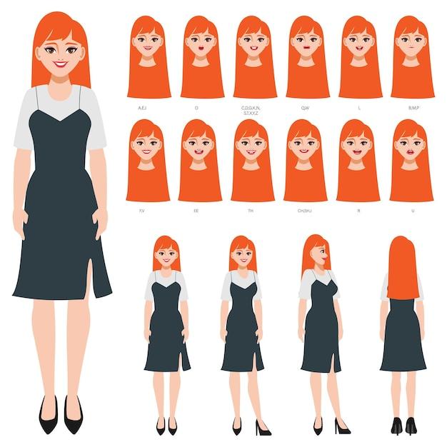 Karakter met verschillende uitdrukkingen en poses