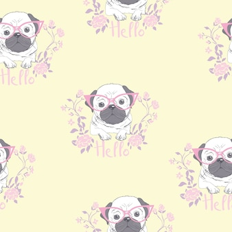 Karakter ontwerp patroon achtergrond van hoofd bulldog
