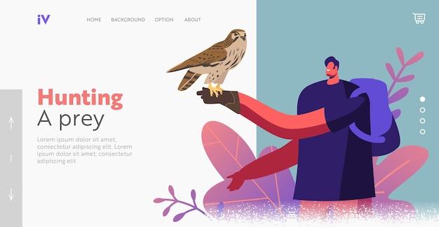 Karakter op falconry festival of outdoor zoo park landing page template. wild falcon zittend op man hand in lederen handschoen. mensen bezoeken vogeljacht, toeristenrecreatie. cartoon vectorillustratie