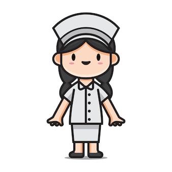 Karakter schattig verpleegster stripfiguur