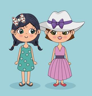 Karakter schattige meisjes die zich voordeed