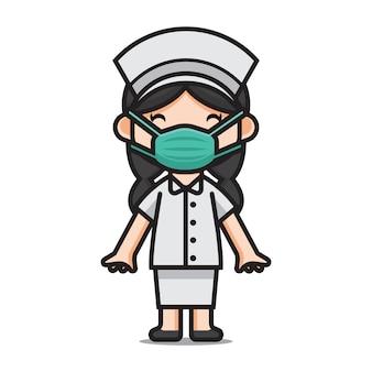 Karakter schattige verpleegster met maskers
