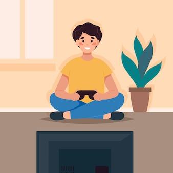 Karakter speelt videospel geïllustreerd