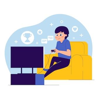 Karakter spelen van videogame illustratie