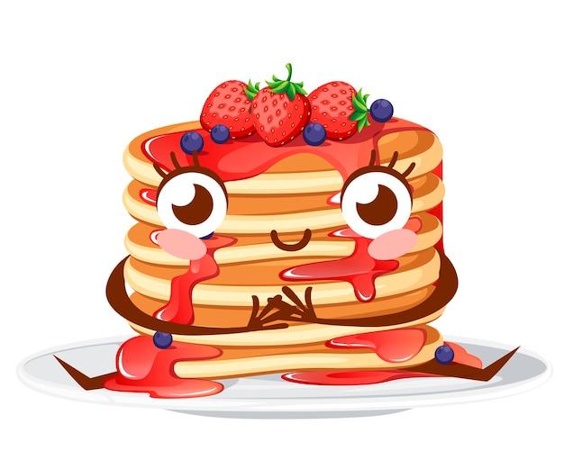 Karakter. stapel pannenkoeken met aardbeiensiroop en aardbeien met aalbessen. illustratie op witte achtergrond. pannenkoeken op witte plaat, mascotte.