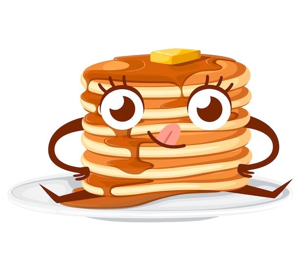 Karakter. stapel pannenkoeken met ahornsiroop en een stuk boter. illustratie op witte achtergrond. pannenkoeken op witte plaat, mascotte.