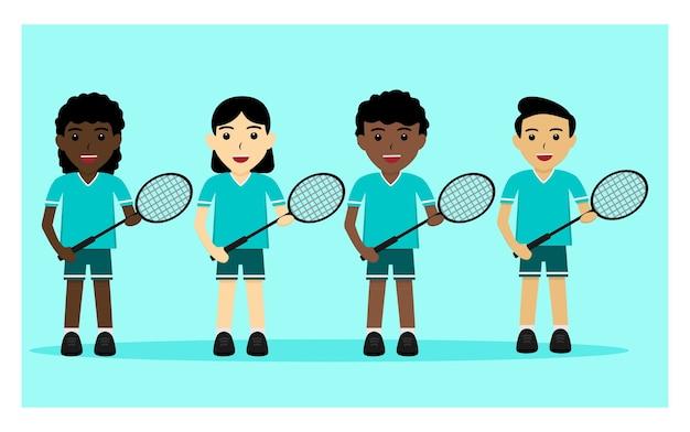 Karakter van badmintonspeler in plat ontwerp