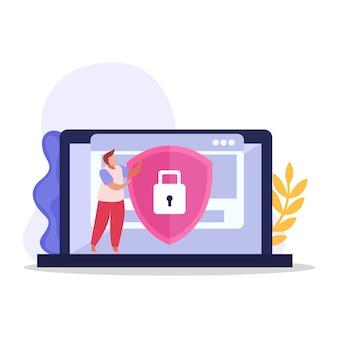 Karakter van computergebruiker en beschermde persoonlijke informatie op laptop
