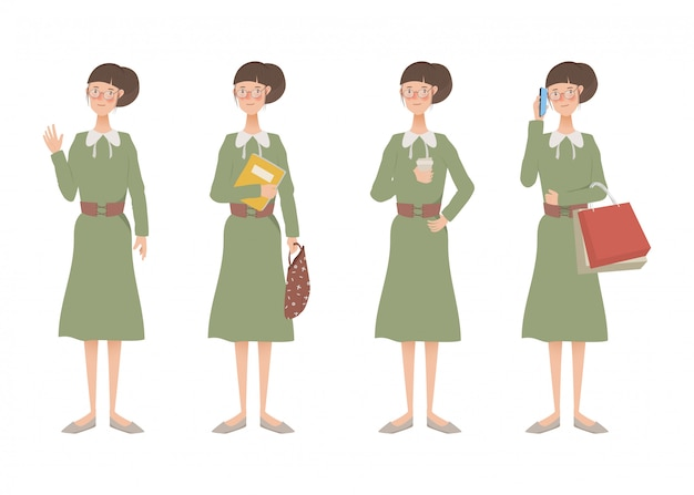 Karakter van de animatiereeks van de vrouw levensstijl.