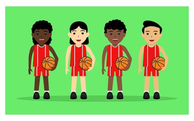 Karakter van de basketbalspeler in plat ontwerp