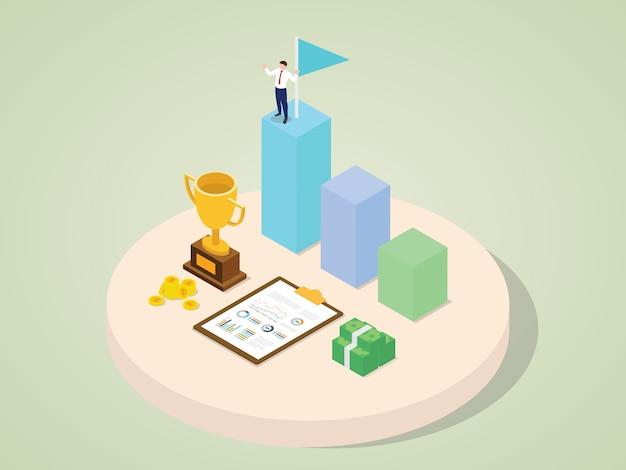 Karakter van de hoogste onderscheiding van de succesvolle de carrièregroei van werknemers verdient geldtrofee met isometrische 3d vlakke beeldverhaalstijl