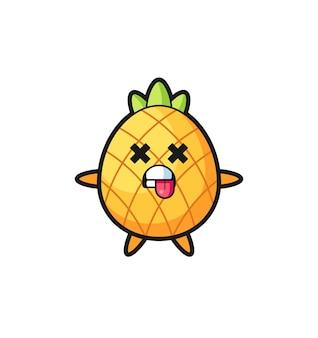 Karakter van de schattige ananas met dode pose, schattig stijlontwerp voor t-shirt, sticker, logo-element