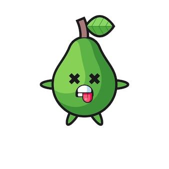 Karakter van de schattige avocado met dode pose, schattig stijlontwerp voor t-shirt, sticker, logo-element