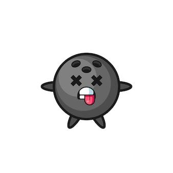 Karakter van de schattige bowlingbal met dode pose, schattig stijlontwerp voor t-shirt, sticker, logo-element