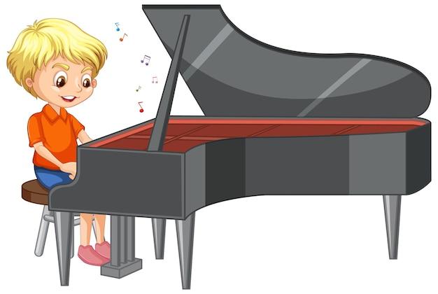 Karakter van een jongen die piano speelt op een witte achtergrond