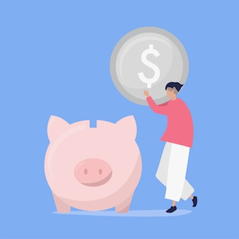 Karakter van een mens die geld in een illustratie van de spaarvarken spaart