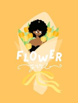 Karakter van een mooi zacht meisje zit in een groot boeket oranje bloemen