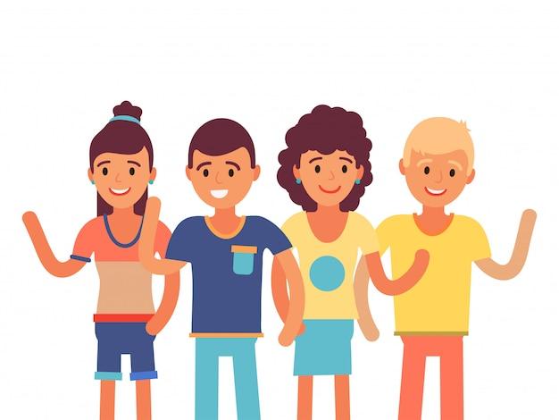 Karakter van groeps vrolijk westerlingen dat op witte golvende hand, illustratie wordt geïsoleerd. europese vrouwelijke mannelijke vriend salute arm.