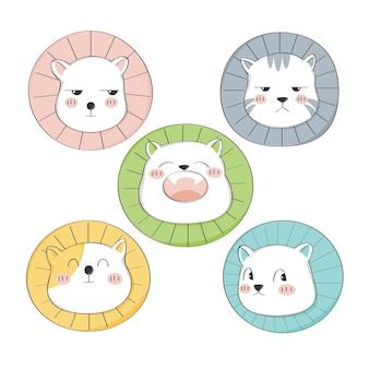 Karakter van het beeldverhaal de leuke kat