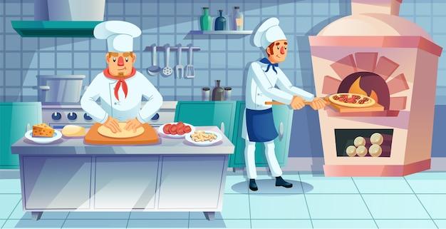 Karakter van het restaurantteam dat zich bezighoudt met het traditionele italiaanse pizza-bereidingsproces.