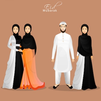 Karakter van islamitische mensen in hun traditionele kleding voor eid