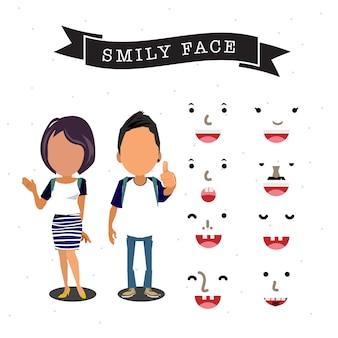 Karakter van jongen en meisje met smileygezicht