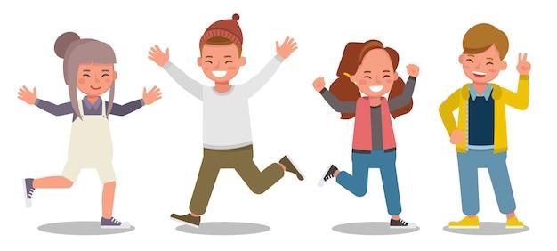 Karakter van kinderen. presentatie in verschillende acties met emoties die gelukkig voelen.