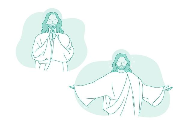 Karakter van lachende god jezus christus met gestrekte armen
