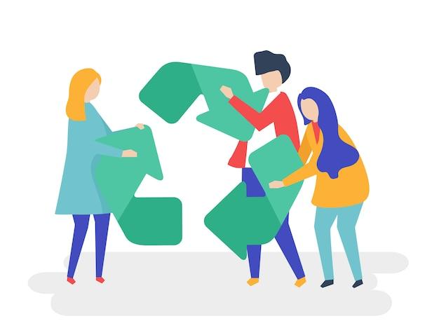 Karakter van mensen die een recycle symboolillustratie houden