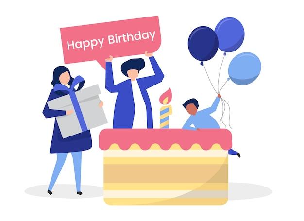 Karakter van mensen en een illustratie van het verjaardagspartij thema