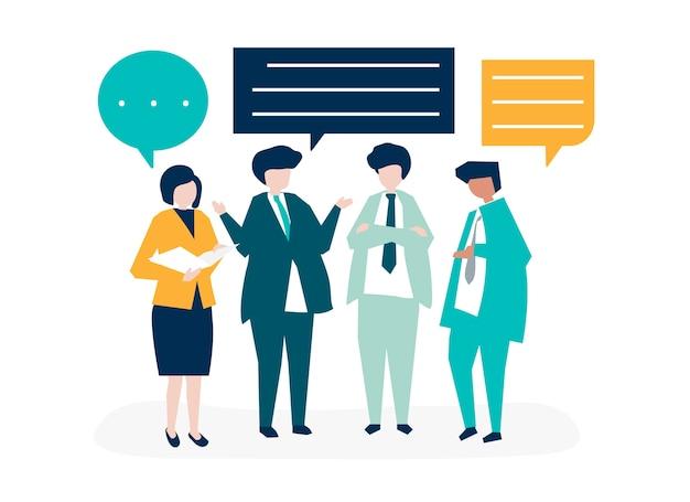 Karakter van mensen uit het bedrijfsleven met een discussie