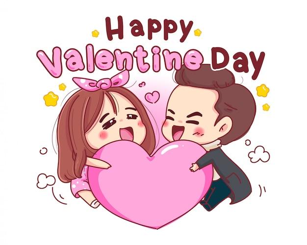 Karakter van minnaar die roze hart met romantische valentijnskaartdag speelt die op witte achtergrond wordt geïsoleerd.