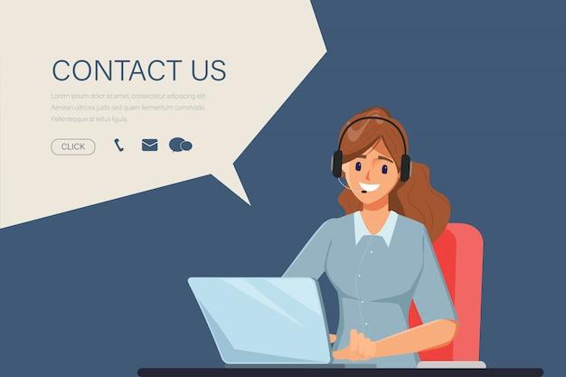 Karakter van onderneemster in call centrebaan. animatiescène voor bewegende beelden. neem contact met ons op link op website-informatie.