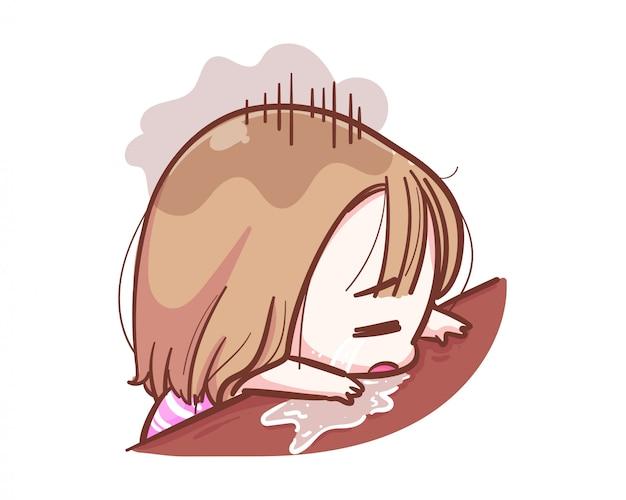 Karakter van ongelukkig meisje schreeuwen op houten tafel op witte achtergrond met verdrietig gevoel concept.