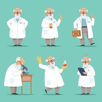 Karakter van oude wetenschapper of chemicus.