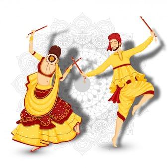 Karakter van paar dansen met dandiya-sticks