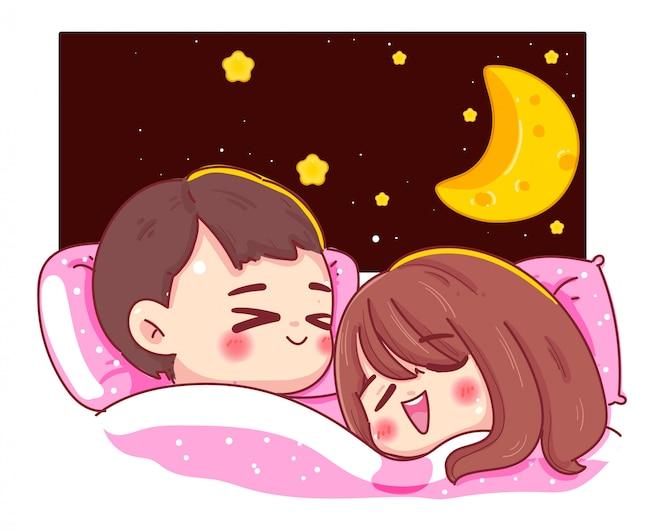Karakter van paar of minnaar slapen op het bed met fantasie nacht en maan geïsoleerd op een witte achtergrond. goedenacht concept.